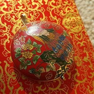 Jewelry - Vintage cloisonne peacock with real gold work